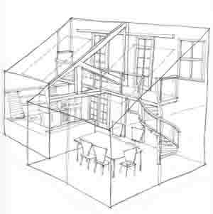 sketch of house perspective